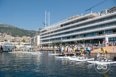 Departure of the Riviera Water Bike Challenge 2018 from the YCM © Eric Mathon-Palais Princier