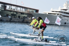 HSH Prince Albert and a competitor during the Riviera Water Bike Challenge 2018 © Eric Mathon : Palais Princier