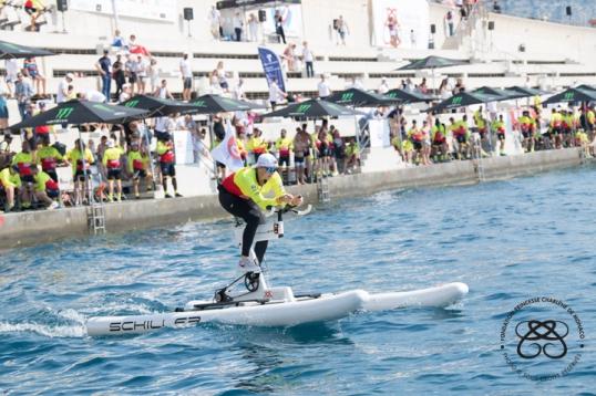 HSH Princess Charlene competing in the Riviera Water Bike Challenge 2018 © Eric Mathon-Palais Princier