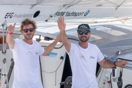 Pierre Casiraghi and Boris Herrmann on board Malizia II during depart of MonacoGlobeSeries@Studio Borlenghi-S.gattini