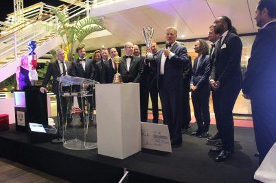 Presentation by John Elway of the US team winners of Monaco US Celebrity Golf Cup 2018 @Nancy Heslin