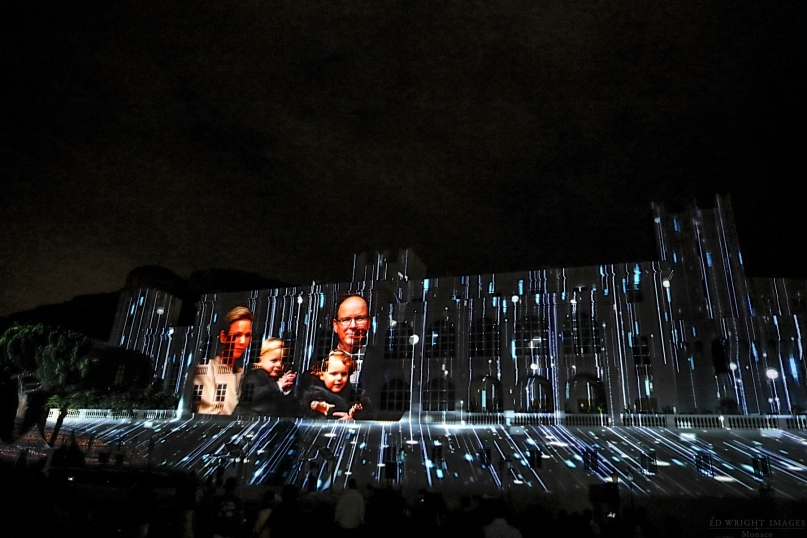Prince Albert, Princess Charlene, Prince Jacques and Princess Gabriella images projected onto the facade of the Palace ©EdWrightImages_StJean18_0288
