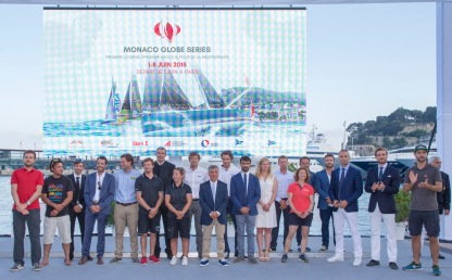 The members of the 9 teams participating in the MonacoGlobeSeries 2018@SG YCM Press