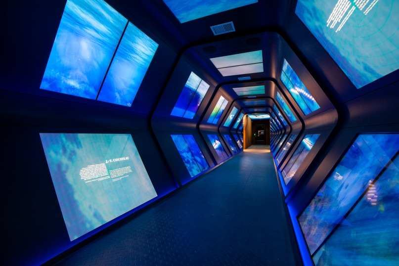 A blue tunnel with information on the ocean, Space Monaco and the Ocean from exploration to protection © Cédric Fruneau - Musée océanographique (65)