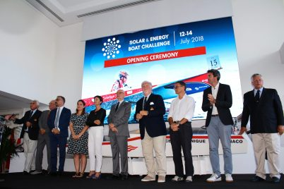 HE Serge Telle with Marco Casiraghi, Bernard Fautrier, Bernard D'Alessandri and other personalities during the opening Ceremony of the Solar Boat and Energy Challenge 2018 - YCM @Celina