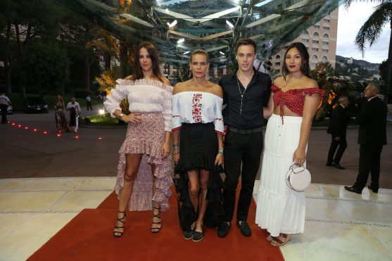 Princess Stephanie with daughter Pauline Ducruet, son Lois Ducruet and his fiancee Marie Chevallier arriving to the Sporting Monte-Carlo for the FAM annual fundaraising Gala 2018 @FAM Press