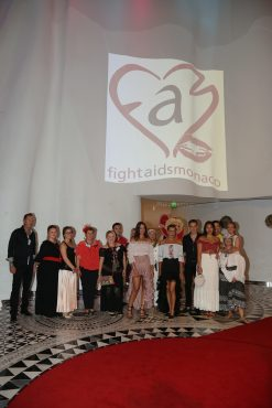 Princess Stephanie with her children and members of the Fights Aids Monaco team at the entrance of the Salle des Etoiles @FAM Press