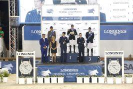 The podium 1 Shane Breen (IRL), 2 Alberto Zorzi (ITA) 3 Denis Lynch (IRL). Twith Jan Tops, D. Fissore, Jung Woo-Sung, Samuel Guelat @Stefano Grasso/LGCT