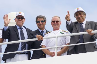 Prince Albert, Agostino Randazzo, Amiral Salvatore Gravante and Mayor Leoluca Orlando at departure of Palermo/Monte-Carlo regatta 2018 @Carlo Borlenghi/CVS