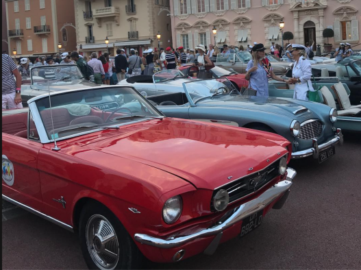 The rally classic cars on the Monaco Prince's Palace Square @Sabine Holz-Strautmann