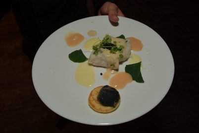 Hake with Iberian sauce and caviar by Aurelio Morales, Monaco 2018@Gastronomy Festival