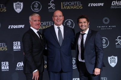 HSH Prince Albert II with Didier Deschamps and Bixente Lizarazu @Sportel All Rights Reserved