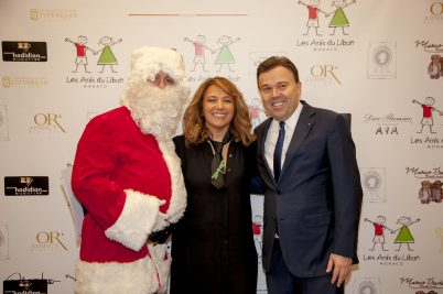 Bouran Hallani with Stephane Valeri and Santa Claus, Les Amis du Liban, Christmas for All, 2018 @Patrick Varotto
