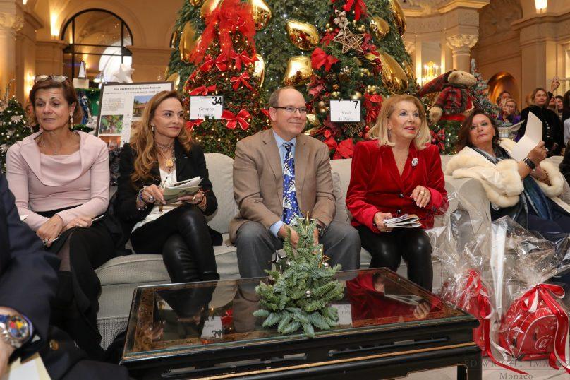 H.E. Marine Carne Trecesson, Ambassador of France in Monaco, Donatella Campioni, HSH Prince Albert II of Monaco and Louisette Levy Soussan Azzoaglio, December 12, 2018©EdWrightImages