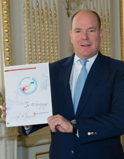 HSH Prince Albert signed the first National Energy Transition Pact @C. Gaetan Luci, Palais Princier Monaco