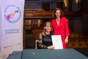 Princess Grace Theater signed the National Energy Transition Pact on January 29, 2019, Francoise Gamerdinger and Annabelle Jaeger-Seydoux @Stephane Danna, Direction de la Communicaiton