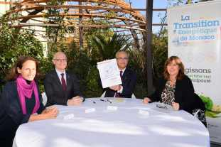 SBM signed the Energy Transition Pact on January 25, 2019 From L to R Annabelle Jaeger-Seydoux, Serge Telle, Jean-Luc Biamonti and Marie-Pierre Gramaglia@Manuel Vitali, Direction de la Communication