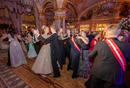 The elegant guests on the dance floor during The Grand Ball of Princes and Princesses, February 14, 2019@Noble Monte-Carlo