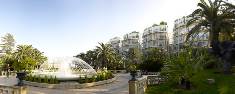 Architects rendition of One Monte-Carlo viewed from the gardens once they are reinstalled@www.rsh-p.com