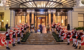 The entrance of the Hotel de Paris to welcome the guests for The Grand Ball of Princes and Princesses, February 14, 2019 @Noble Monte-Carlo