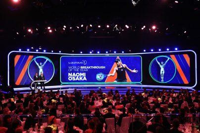 Boris Becker announced the Laureus World Breakthrough of the Year LWSA 2019 winner Naomi Osaka @Matthew Lewis/Getty Images for Laureus