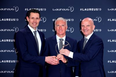 Didier Deschamps with Franck Raviot and Guy Stephano, Laureus World Team of the Year LWSA 2019 @Boris Streubel/Getty Images for Laureus