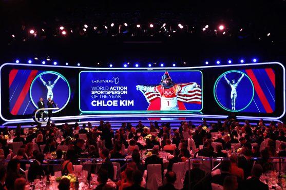 Garrett McNamara & Mike Horn announces Laureus World Action Sportsperson of the Year winner Chloe Kim. LWSA2019 @Matthew Lewis/Getty Images for Laureus