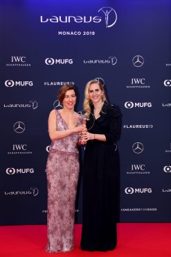 Henrieta Farkasova Disability Award Winner with a guest at LWSA 2019 @Boris Streubel/Getty Images for Laureus