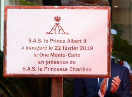 Inauguration plaque for One Monte-Carlo, February 22, 2019 Photo credit: Claudia Albuquerque