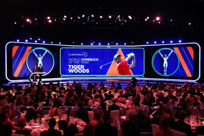Katarina Witt announces Laureus World Comeback of the Year winner Tiger Woods WLSA 2019 @Matthew Lewis/Getty Images for Laureus