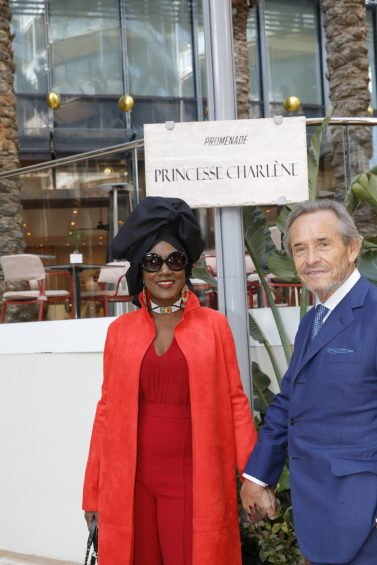Khadja Nin and Jackie Ickx former Belgian race driver at inauguration of Promenade Princesse Charlene and One Monte-Carlo, February 22, 2019 Photo credit: Claudia Albuquerque