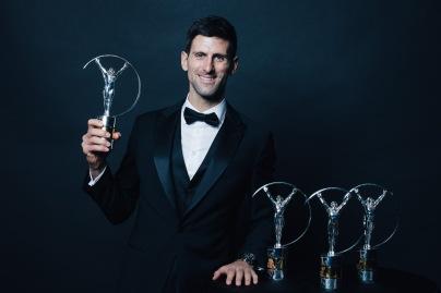 Novak Djokovic Laureus World Sportsman Year 2019, with prious awards Monaco @Simon Hofmann/Getty Images for Laureus