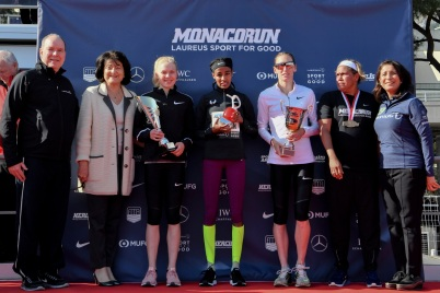 Prince Albert on the Women's Podium, Monaco Run 2019 @Manuel Vitali/Direction de la Communication