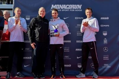 Prince Albert on the Men's podium, Monaco Run 2019 @Manuel Vitali/Direction de la Communication