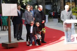 Prince Albert and Princess Charlene and their children during the discourse by Jean Luc Biamonti at the inauguration of Promenade Princess Charlene and One Monte-Carlo, February 22, 2019 Photo credit: Claudia Albuquerque