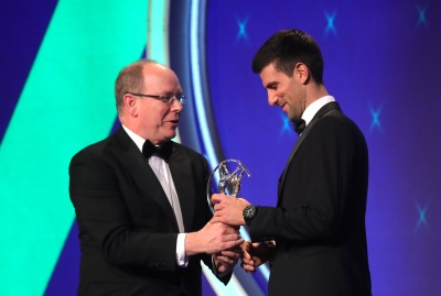 Prince Albert presents Novak Djokovic with Sportsman of the Year award LWSA 2019 @Alexander Hassenstein/Getty Images for Laureus