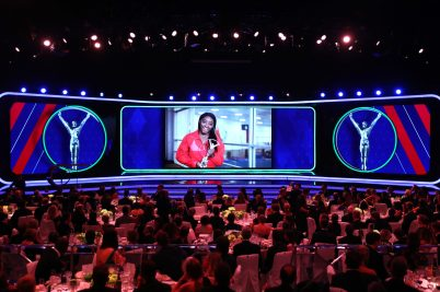 Simone Biles accepted her Sportswoman of the Year via video LWSA2019.@Matthew Lewis/Getty Images for Laureus
