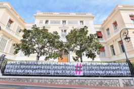 #8MarsMonaco campaign poster on the fence of the State Minister's Residence in Monaco