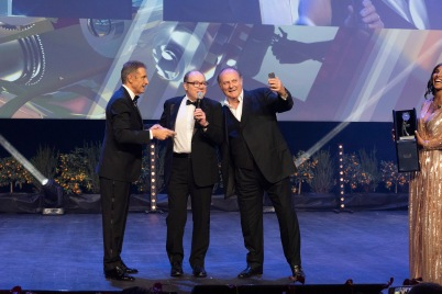 Carlo Verdone received the King of Comedy Award, on stage with Gerry Scotti and Ezio Greggio, MCFF 2019 @StudioWeb06