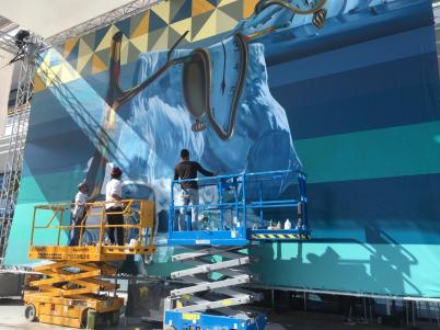 Eduardo Kobra working on his Global Warming mural at the Yacht Club of Monaco (1) @Brazil Monaco Project
