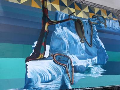 Global Warming mural by Eduardo Kobra at the Yacht Club of Monaco, March 2019 @Brazil Monaco Project