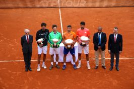 Alain Manigly with the doubles players, umpire Carlos and Georges Marson, Mayor of Monaco @CelinaLafuentedeLavotha