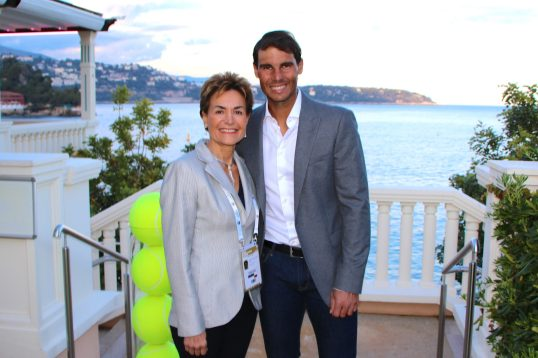 Celina Lafuente de Lavotha with Rafael Nadal during the Main Draw for the Rolex Monte=-Carlo Masters 2019 @Benito Barbadillo