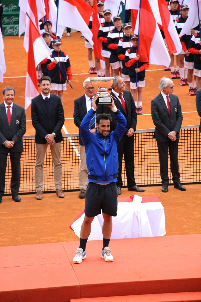Fabio Fognini lifting the trophy of the 113th Rolex Monte-Carlo Masters @CelinaLafuentedeLavotha