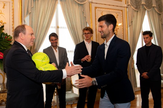 Novak Djokovic presents Prince Albert II with the signed tennis balls for the royal twins Jaques and Gabriella, Sunday, April 14, 2019@GaetanLuci_PalaisPrincier