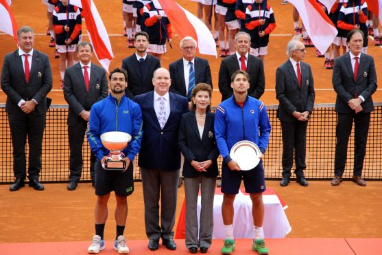 Prince Albert II of Monaco, Elisabeth-Anne de Massy, with champion Fabio Fognini and runner up Dusan Lajovic @CelinaLafuentedeLavotha