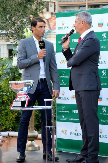 Rafael Nadal by the Main Trophy with presenter Marc Maury @CelinaLafuentedeLavotha