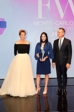 Emerging Made-in-Monaco Award winner Ines Bensalah of Inessa Creations, Georges Marsan and Celina Lafuente de Lavotha, Communications Attache MCFW @Deniele Guidetti