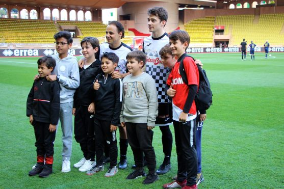 Venturi E-driver Felipe Massa with F1 driver Charles Leclerc, family and fans at the charity football match, 2019 @CelinaLafuentedeLavotha