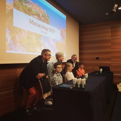 Olivier Arnoult with Gaspard, Kate Powers with Lyly and Didier Rubiolo with Luigi at Monacology 2019 Press Conference @Monacology